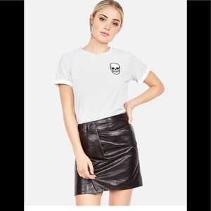Lauren Moshi Skull Face Patch Striped Tee
